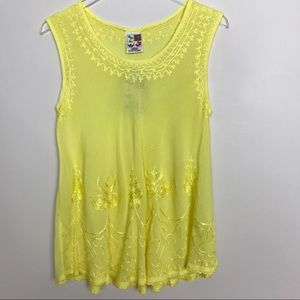 India Boutique Yellow Gauze Embroidered Swing Top